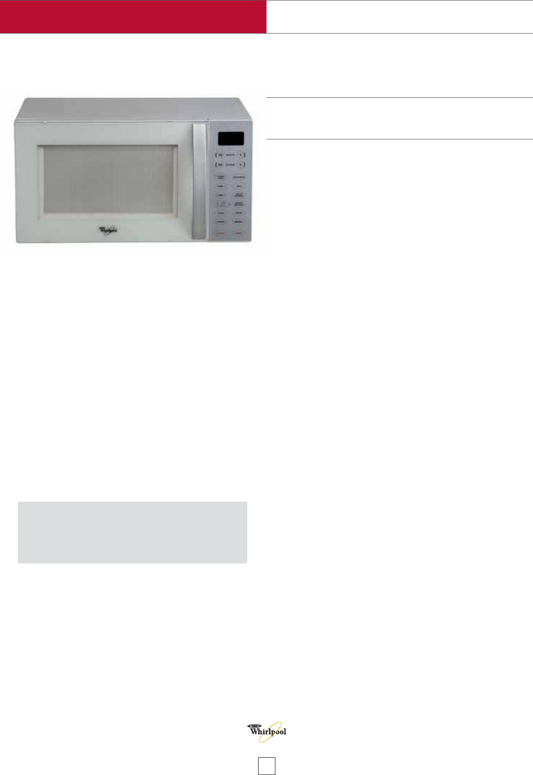 Whirlpool Mwo 611 Wh Microwave Oven User Manual Page 1