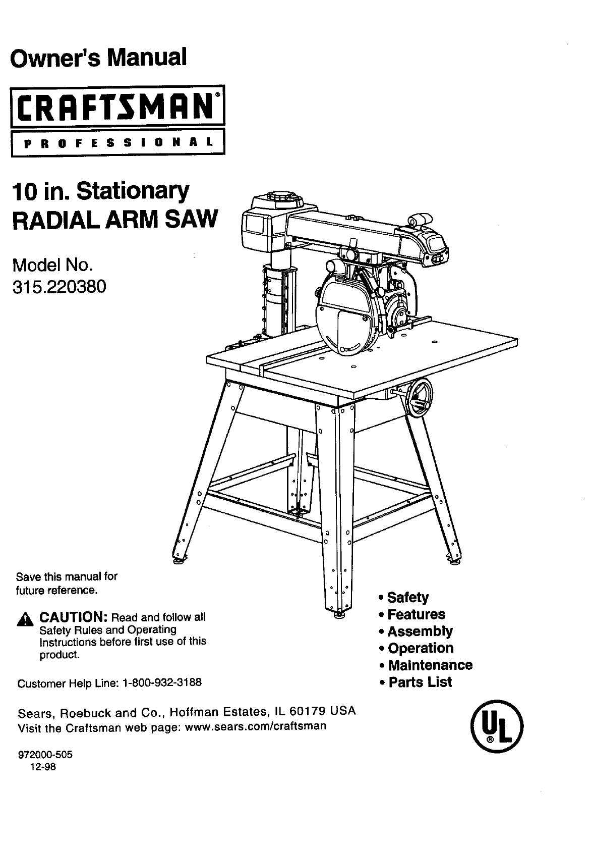 craftsman saw 315 22038 user guide manualsonline com rh powertool manualsonline com craftsman 10 inch table saw user manual craftsman circular saw user manual