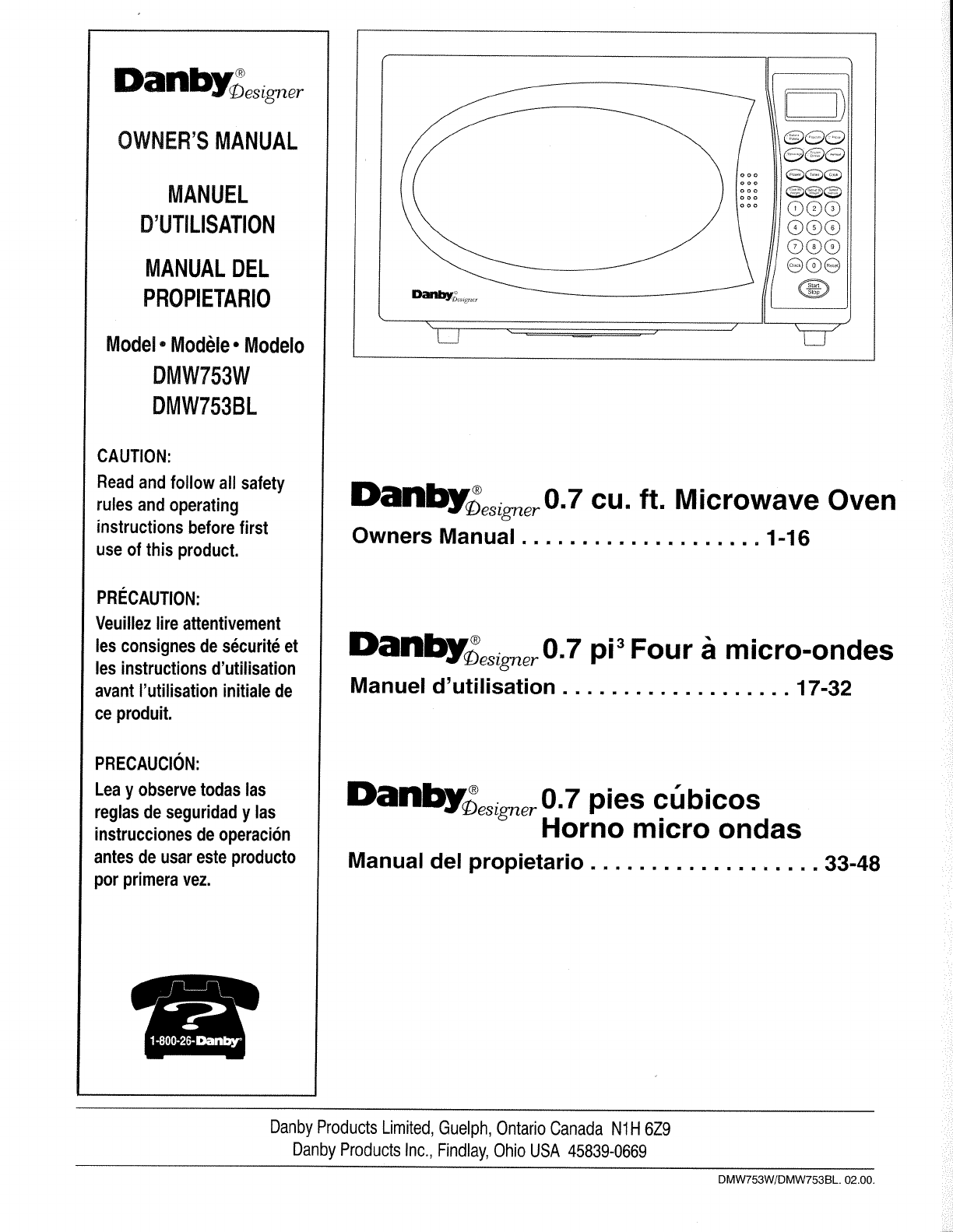 Danby Microwave Oven Dmw753bl User Guide Manualsonline Com