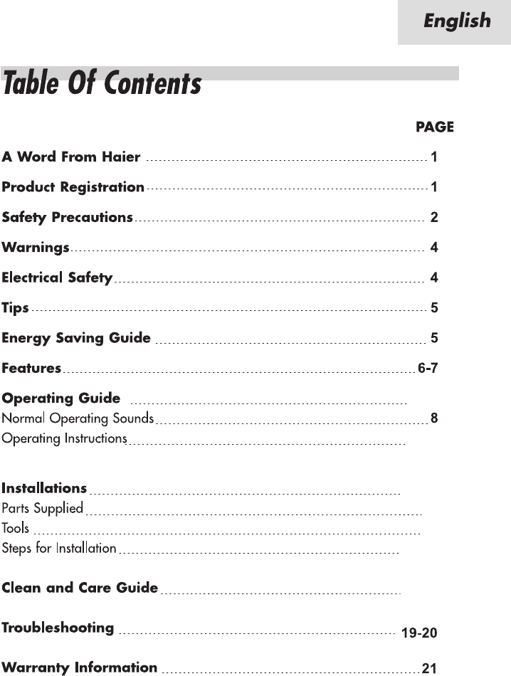 page 4 of haier air conditioner hwr08xc7 user guide manualsonline com rh homeappliance manualsonline com Haier Room Air Conditioner Haier Air Conditioner Blinking Red-Light