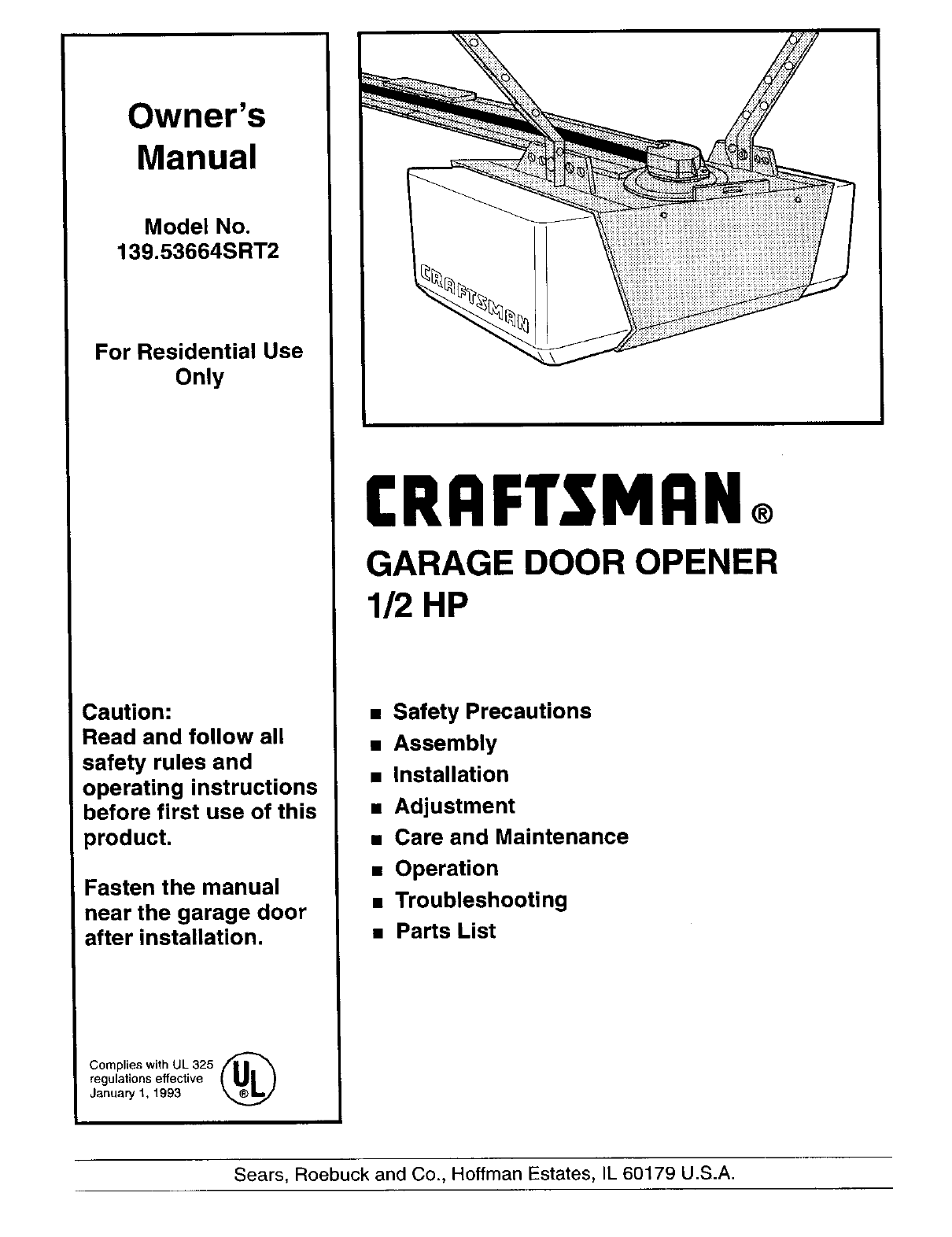 craftsman garage door opener 139 53664srt2 user guide