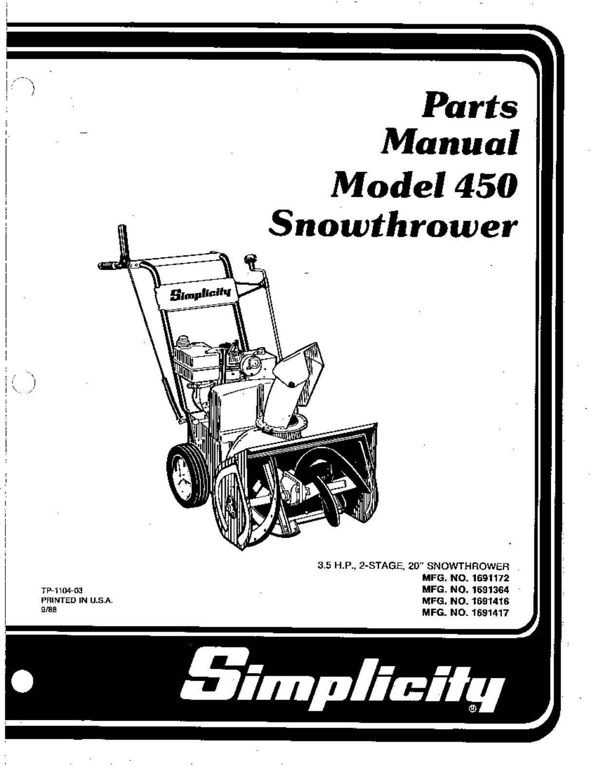 simplicity snow blower 1691172 user guide manualsonline com rh lawnandgarden manualsonline com simplicity snow blower user manual Simplicity 755 Parts