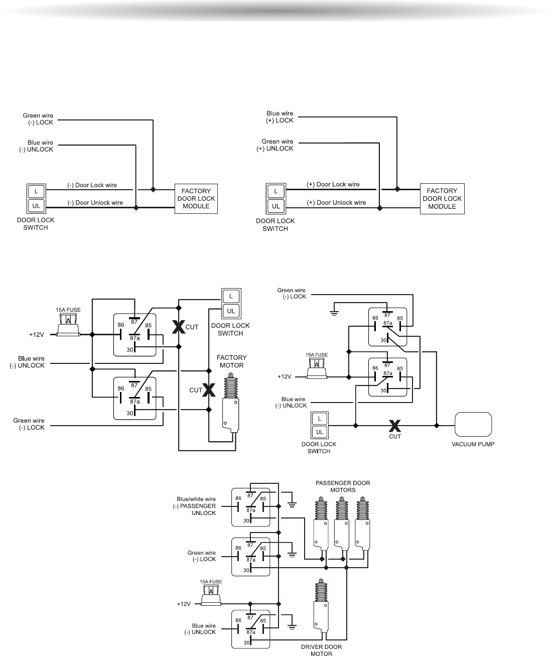 Page 38 Of Scytek Electronic Automobile Alarm 777 User Guide Door Actuator Wiring Follow The Diagrams Below For Connecting Basic Lock Systems Two Stage