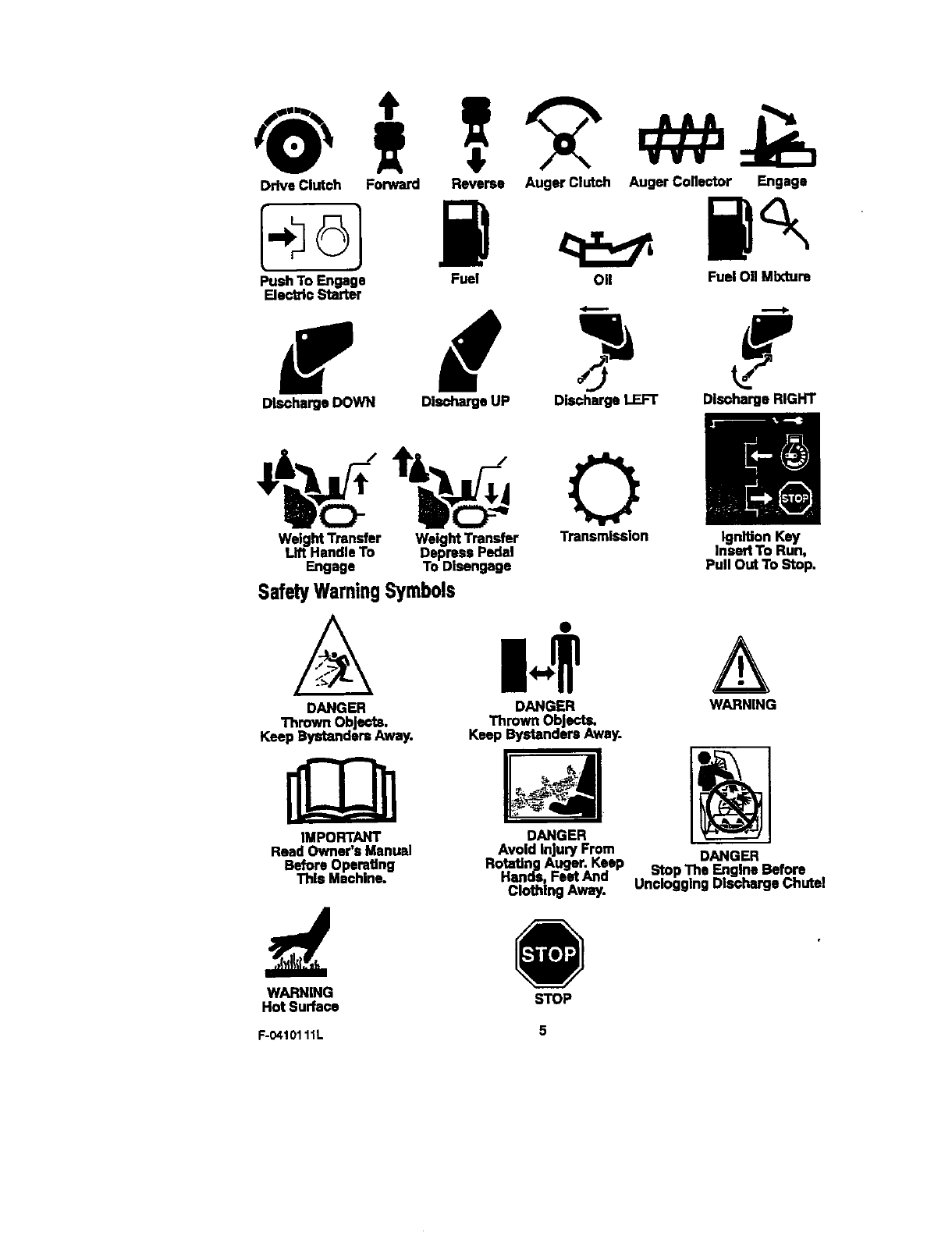 page 5 of craftsman snow blower 536 88155 user guide