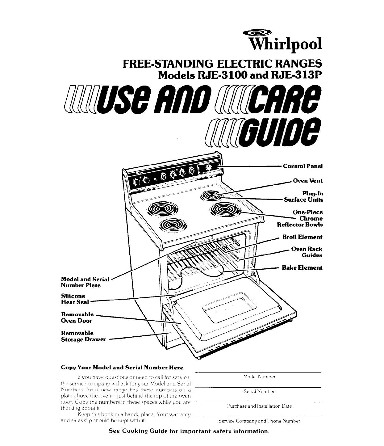 Whirlpool Range Rje 3100 User Guide Manualsonline Com border=