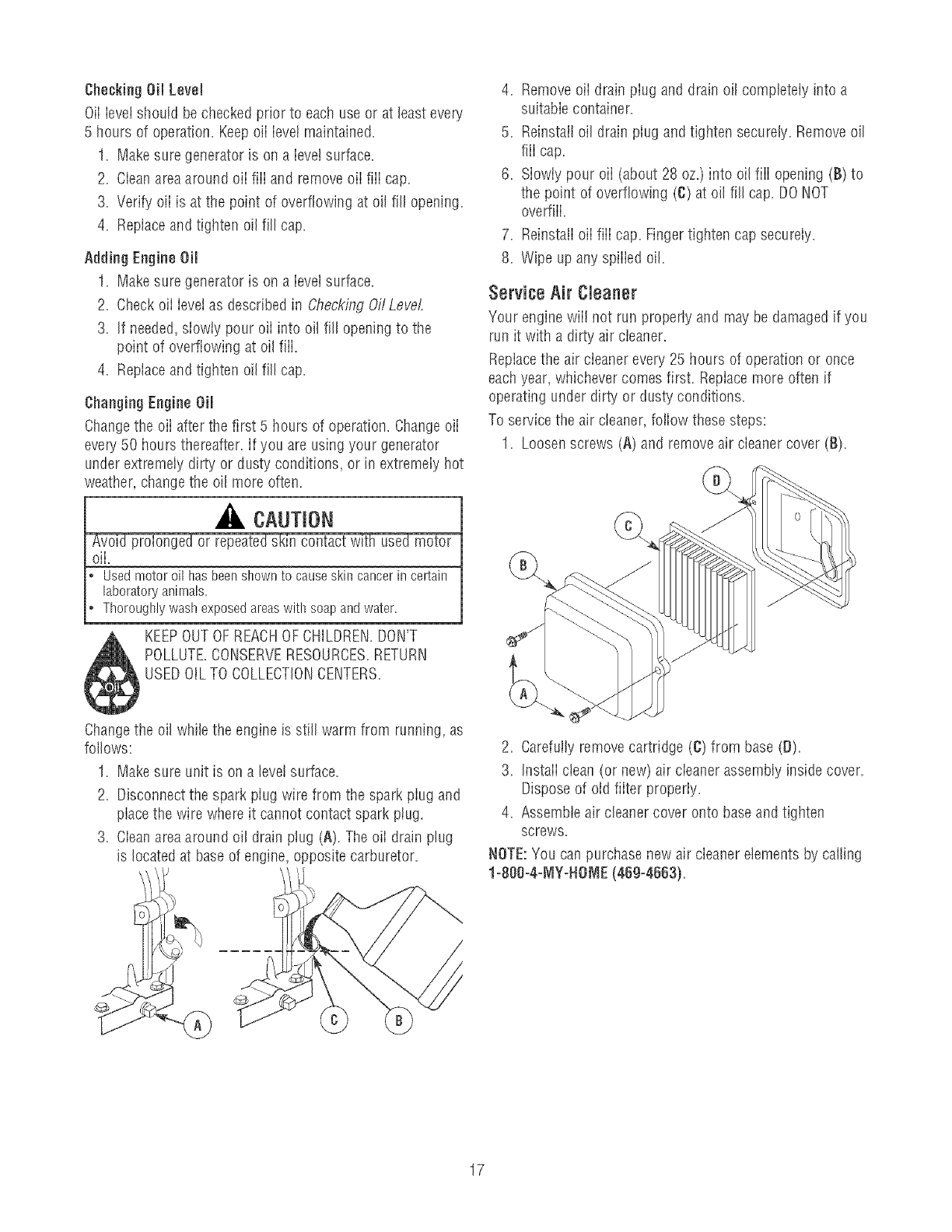 Page 17 of Craftsman Portable Generator 580 32561 User Guide