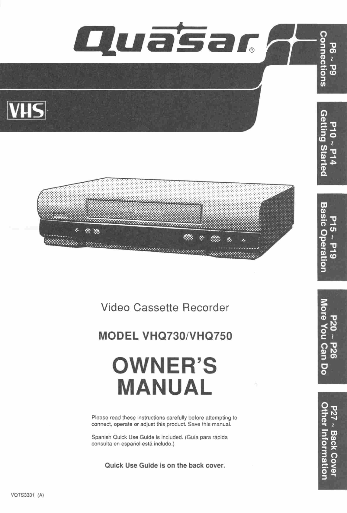 quasar vcr vhq730 user guide manualsonline com rh tv manualsonline com Sanyo VCR Quasar VCR Remote 1980s