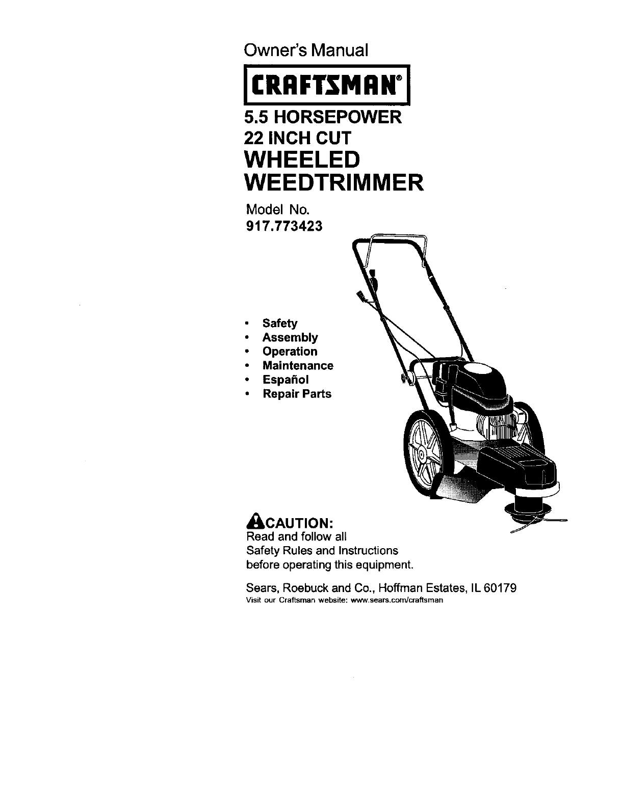 craftsman trimmer 917 773423 user guide manualsonline com rh lawnandgarden manualsonline com Craftsman Gas Trimmer Repair Craftsman Electric Trimmer
