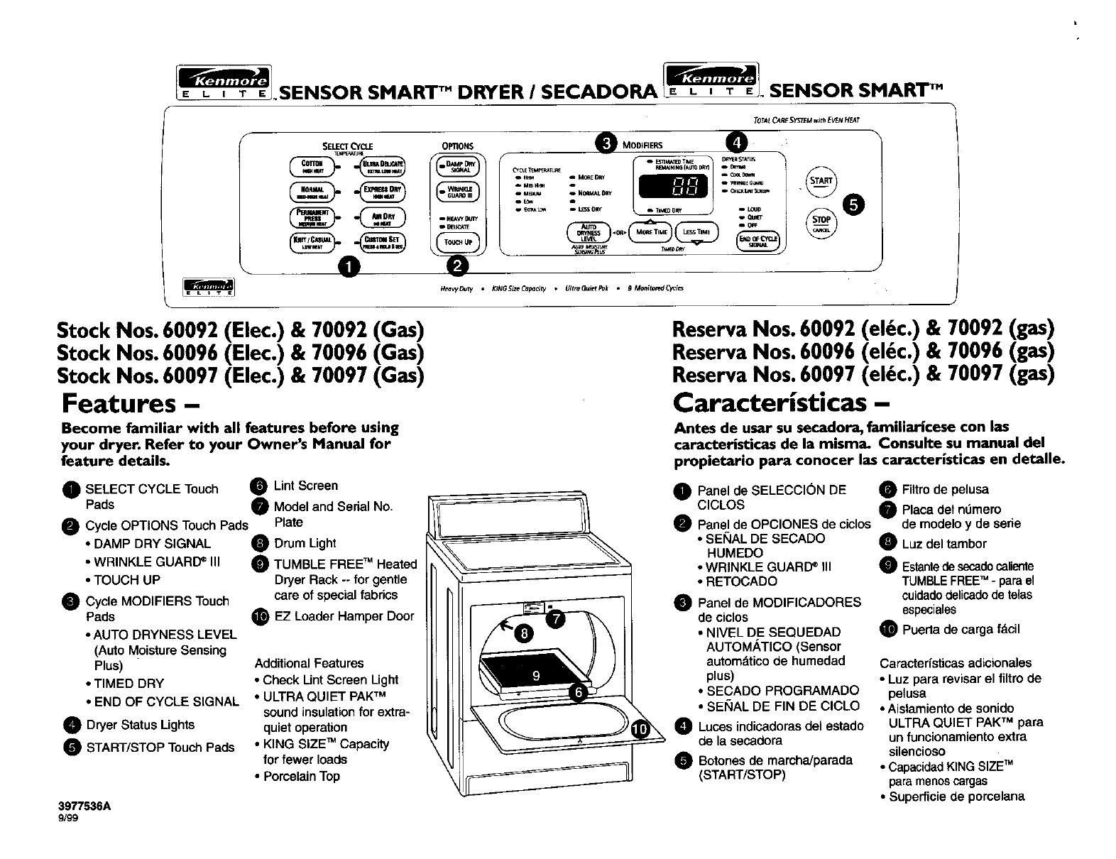 Kenmore 60097 Clothes Dryer User Manual