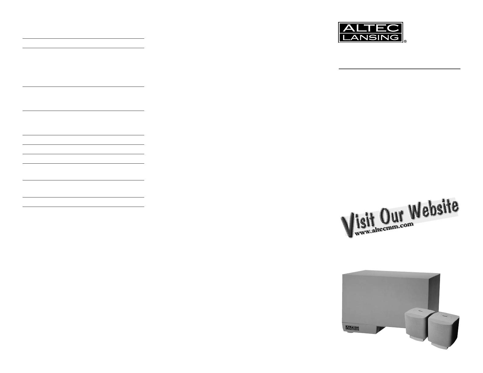 altec lansing speaker system acs45 2 user guide manualsonline com rh audio manualsonline com altec lansing instruction manual altec lansing owners manual