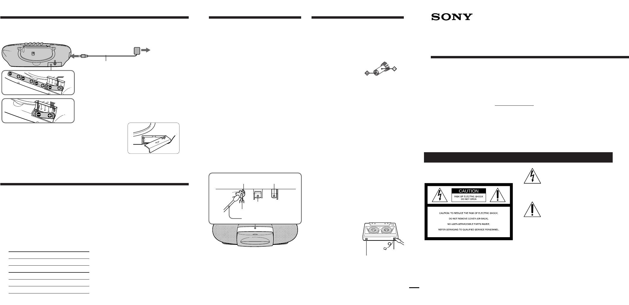 sony cassette player cfs e2 user guide manualsonline com rh audio manualsonline com Sony Sports Walkman Cassette Player Sony Portable Cassette Players