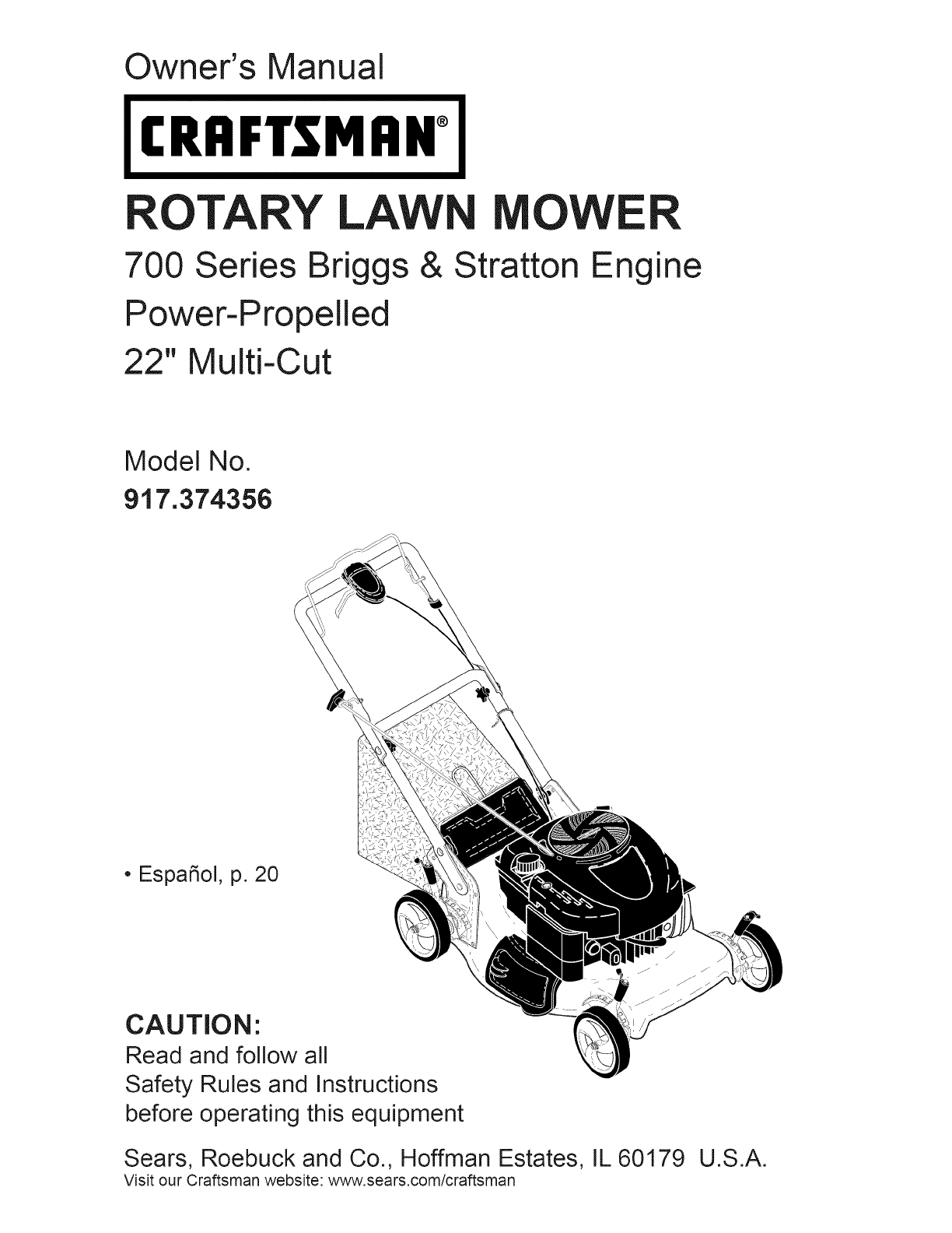 craftsman lawn mower 917 374356 user guide manualsonline com rh phone manualsonline com Craftsman Snow Blower Parts Manuals Craftsman Model 917