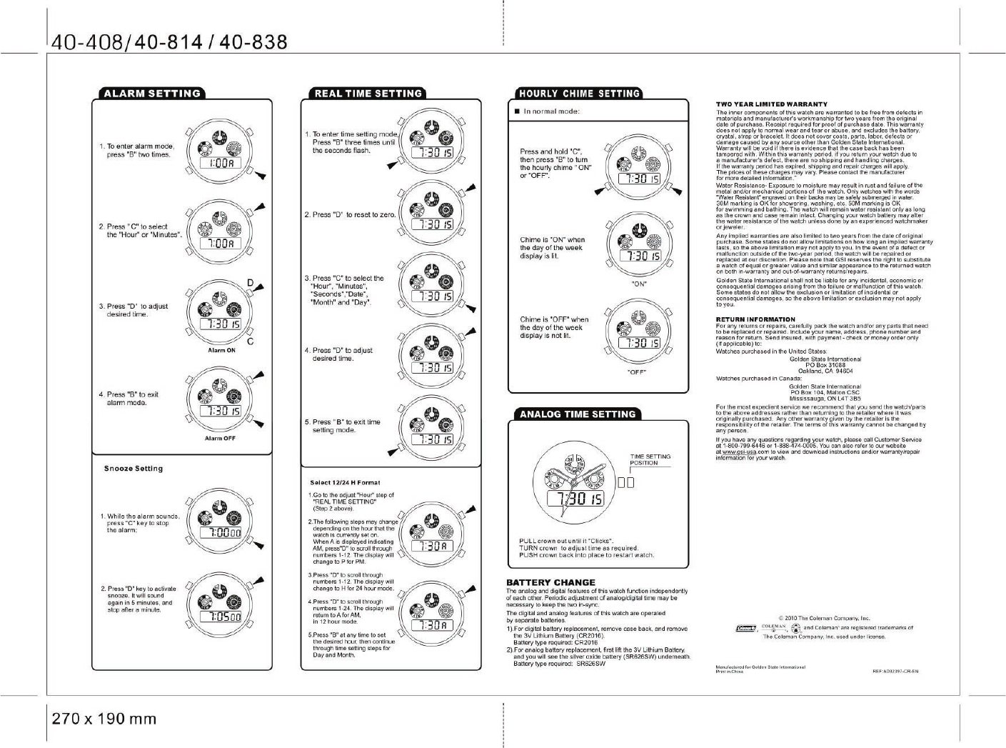 page 2 of coleman watch 40 838 user guide manualsonline com rh fitness manualsonline com Coleman Digital Watch Manual Coleman Digital Watch