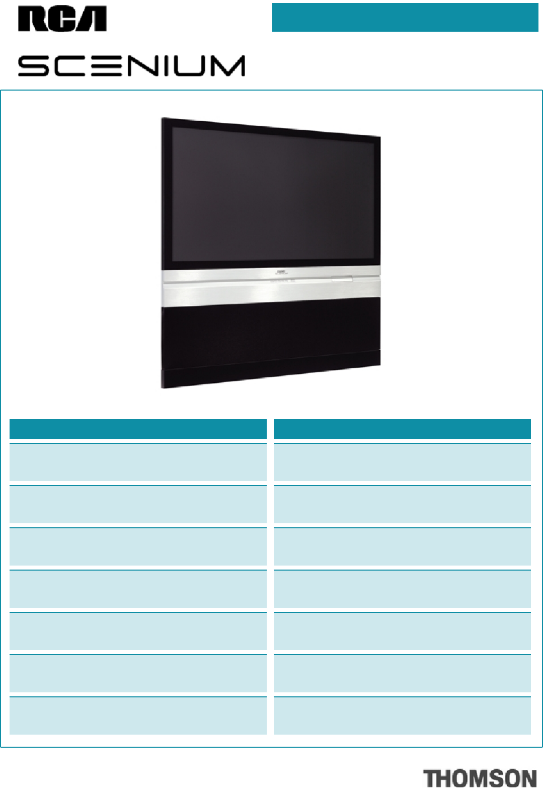 RCA HD56W151 Flat Panel Television User Manual