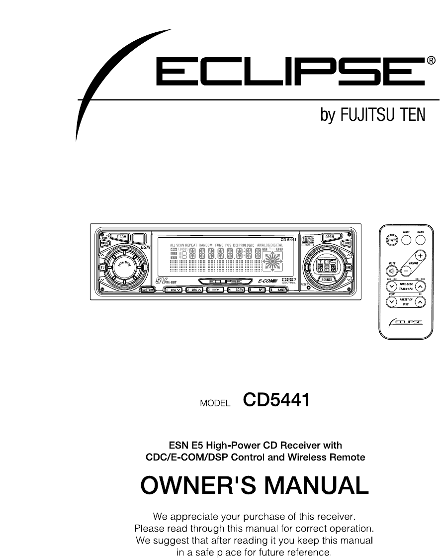 Eclipse fujitsu ten car stereo system cd5441 user guide next asfbconference2016 Choice Image