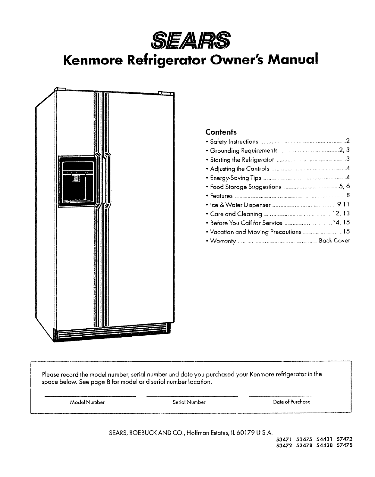 sears refrigerator 53478 user guide manualsonline com rh kitchen manualsonline com sears kenmore refrigerator parts sears kenmore refrigerator replacement parts