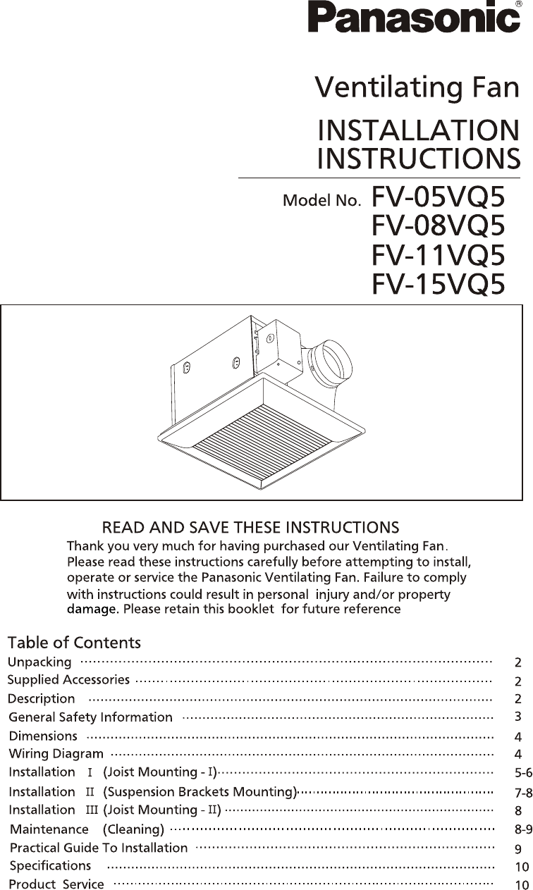 Panasonic ventilation hood fv 05vq5 user guide manualsonline next sciox Choice Image
