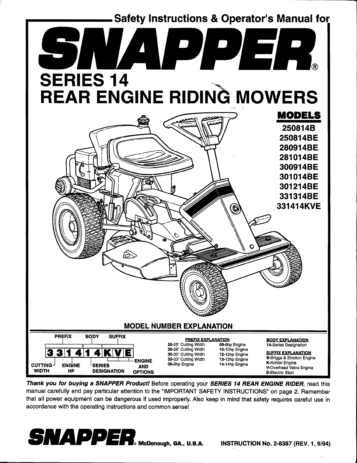 Snapper lawn mower 280914be user guide manualsonline of 24 publicscrutiny Choice Image