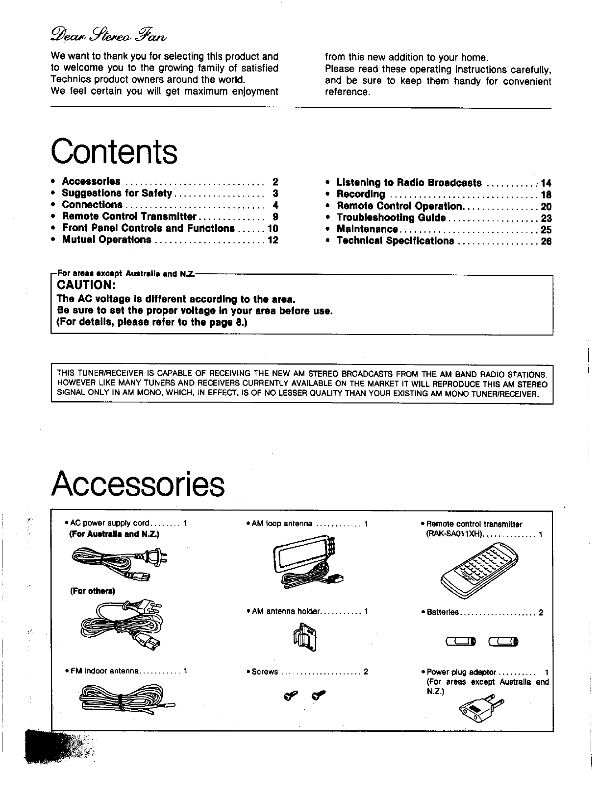 Page 2 of Technics Stereo Receiver SA-GX130D User Guide