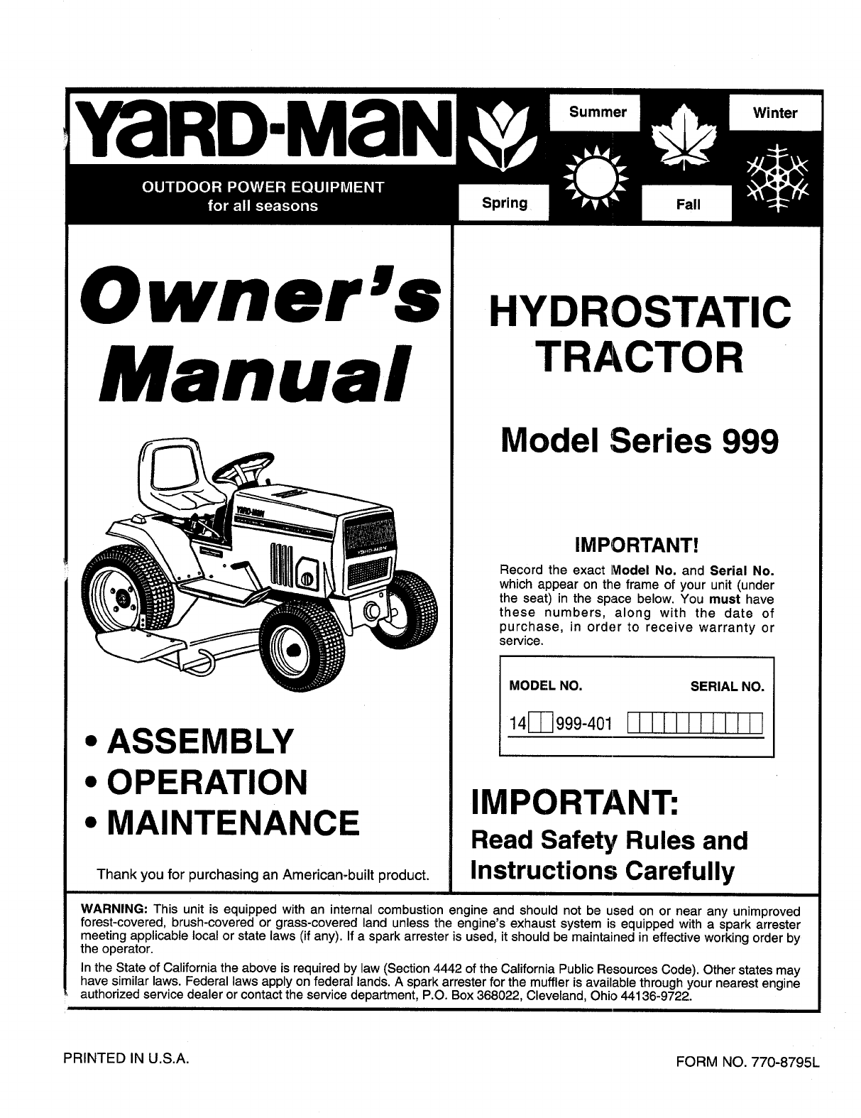 Yardman 999 Tractor Wiring Diagram Model - Residential Electrical ...