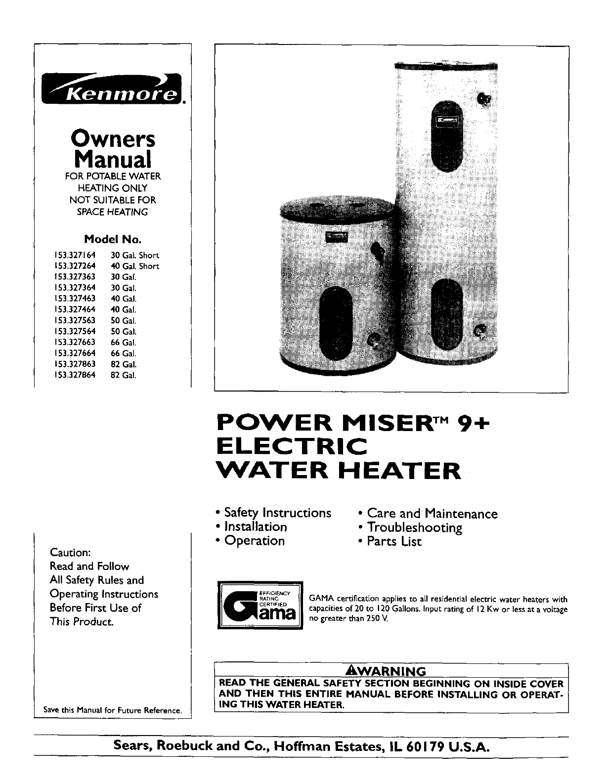 Kenmore water heater 153327464 user guide manualsonline owners manual ccuart Image collections