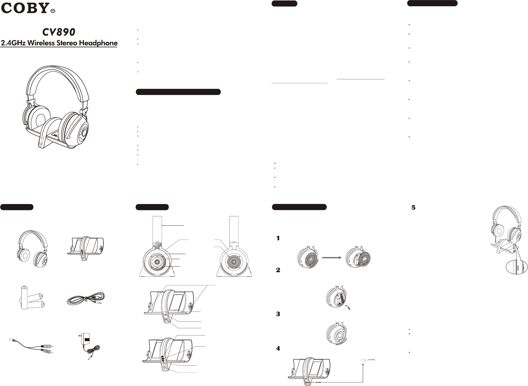 COBY electronic CV 890 Headphones User Manual