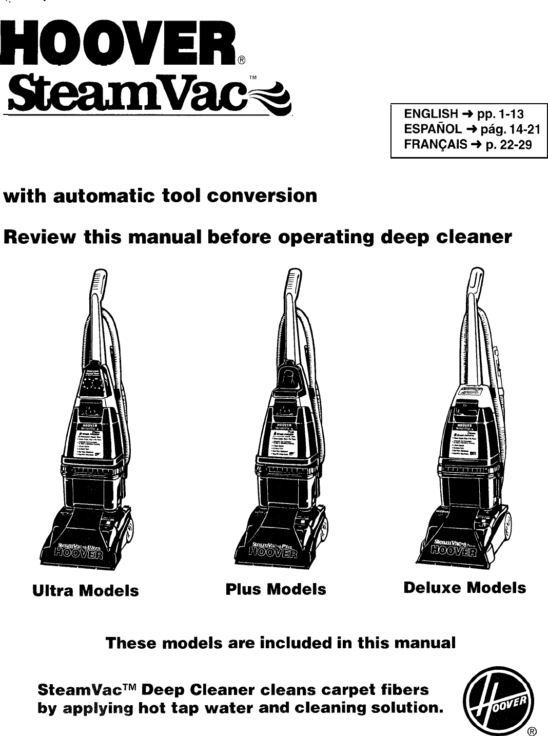 Hoover 12 Steamvac Spinscrub Carpet Cleaner Manual ...