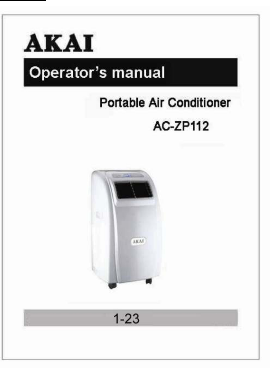 akai air conditioner ac zp112 user guide manualsonline com rh homeappliance manualsonline com Air Conditioner Wiring Diagrams Whirlpool Portable Air Conditioner