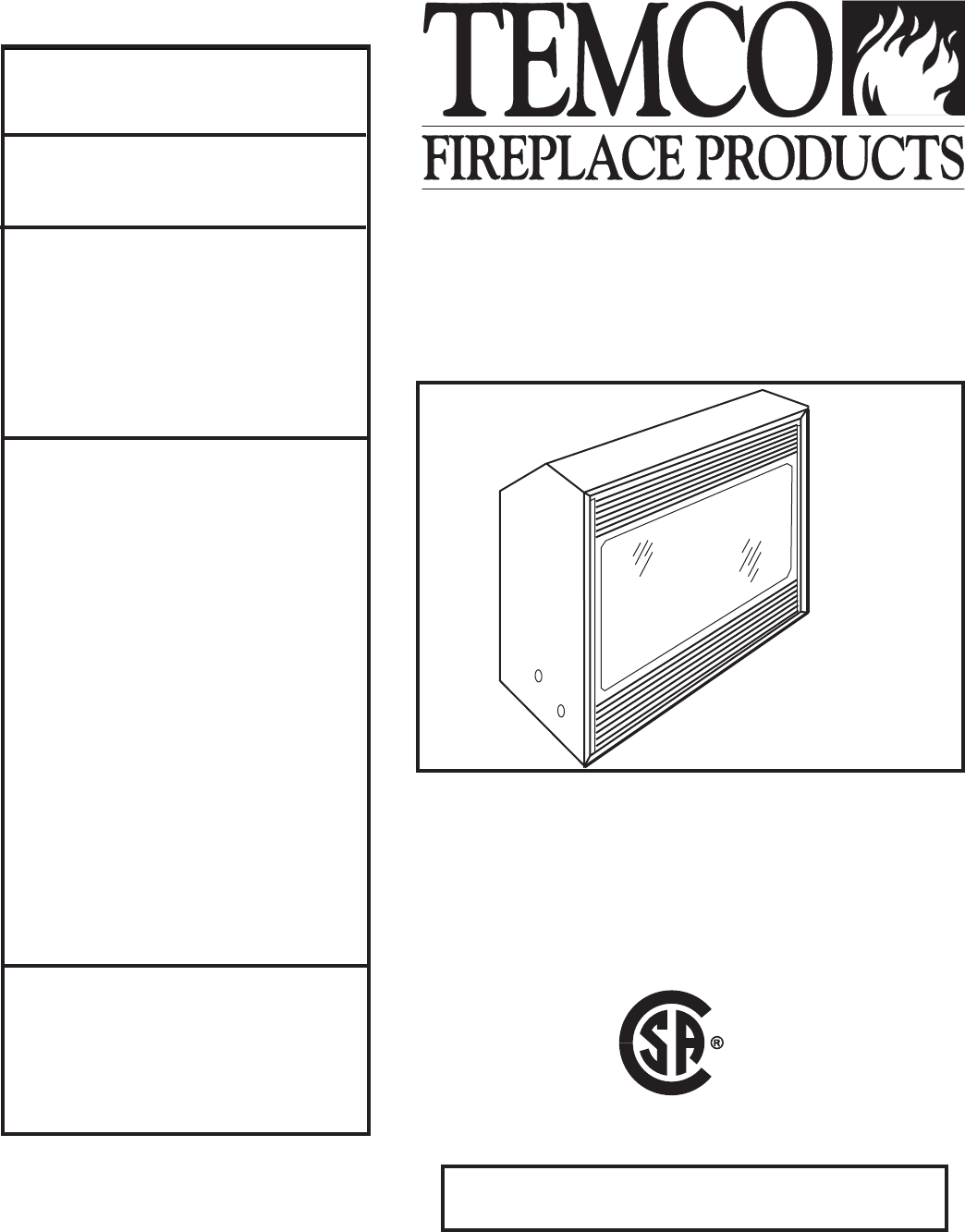 temco tool indoor fireplace dv1200n p user guide manualsonline