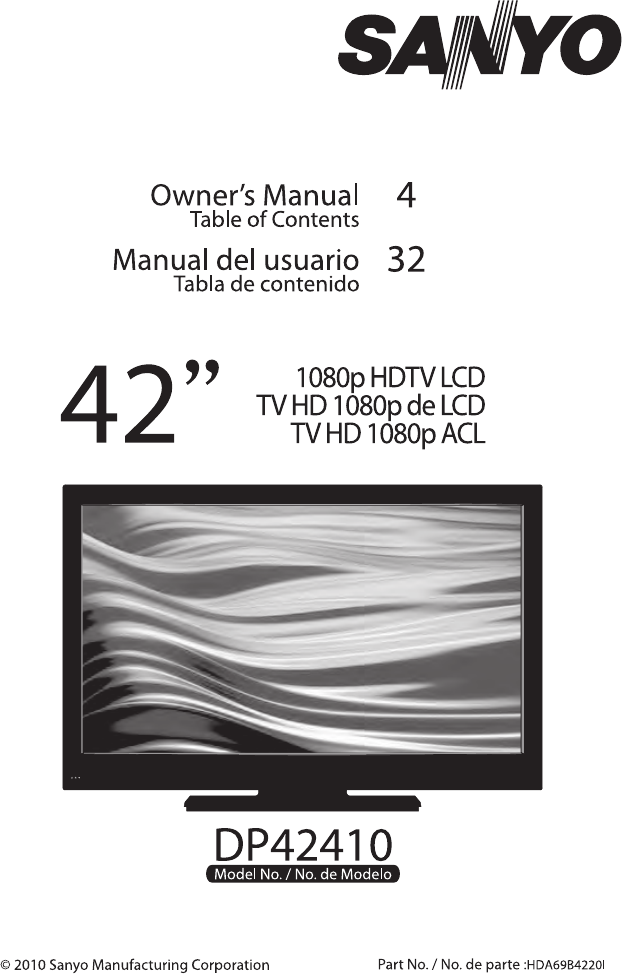 sanyo flat panel television dp42410 user guide manualsonline com rh tv manualsonline com sanyo television manual dp26640 sanyo tv service manual