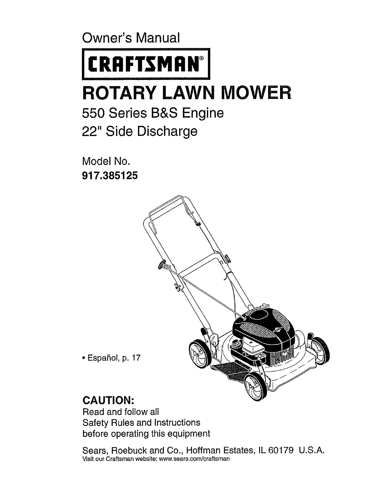 Craftsman Lawn Mower 917.385125 User Guide