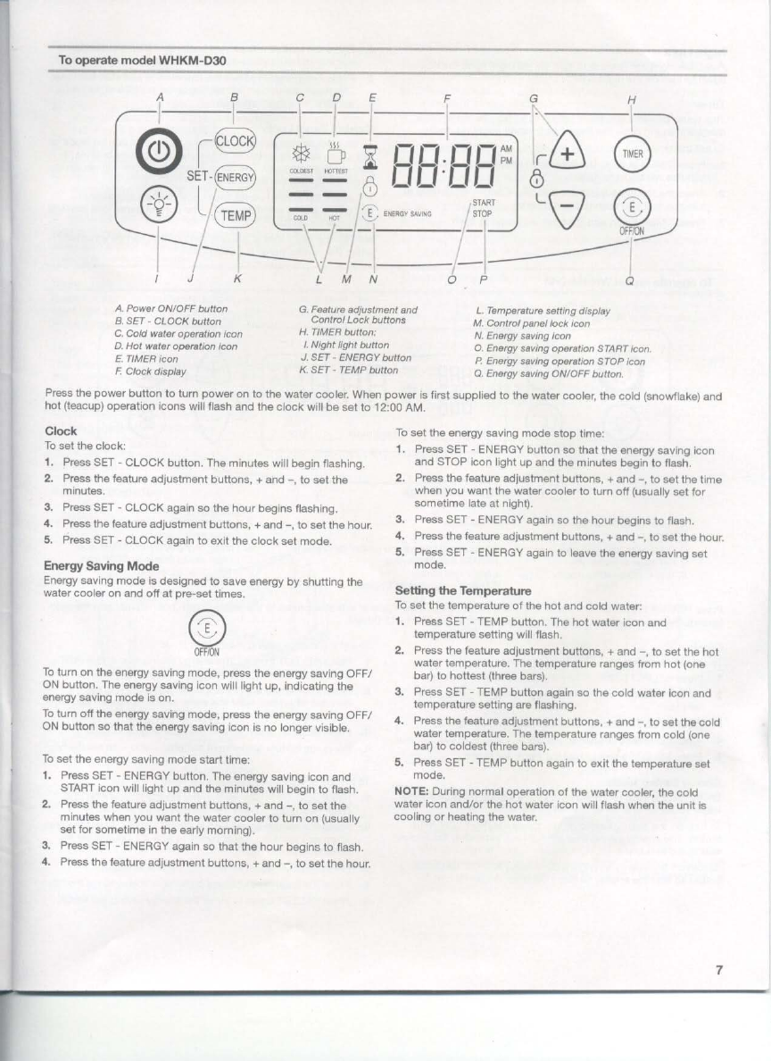 Page 7 Of Whirlpool Water Dispenser Whkm D30 User Guide