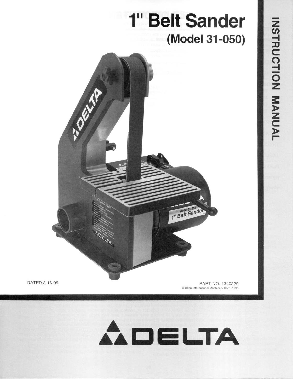 delta sander 31 050 user guide manualsonline com rh powertool manualsonline com bosch belt sander parts bosch belt sander 1274dvs parts