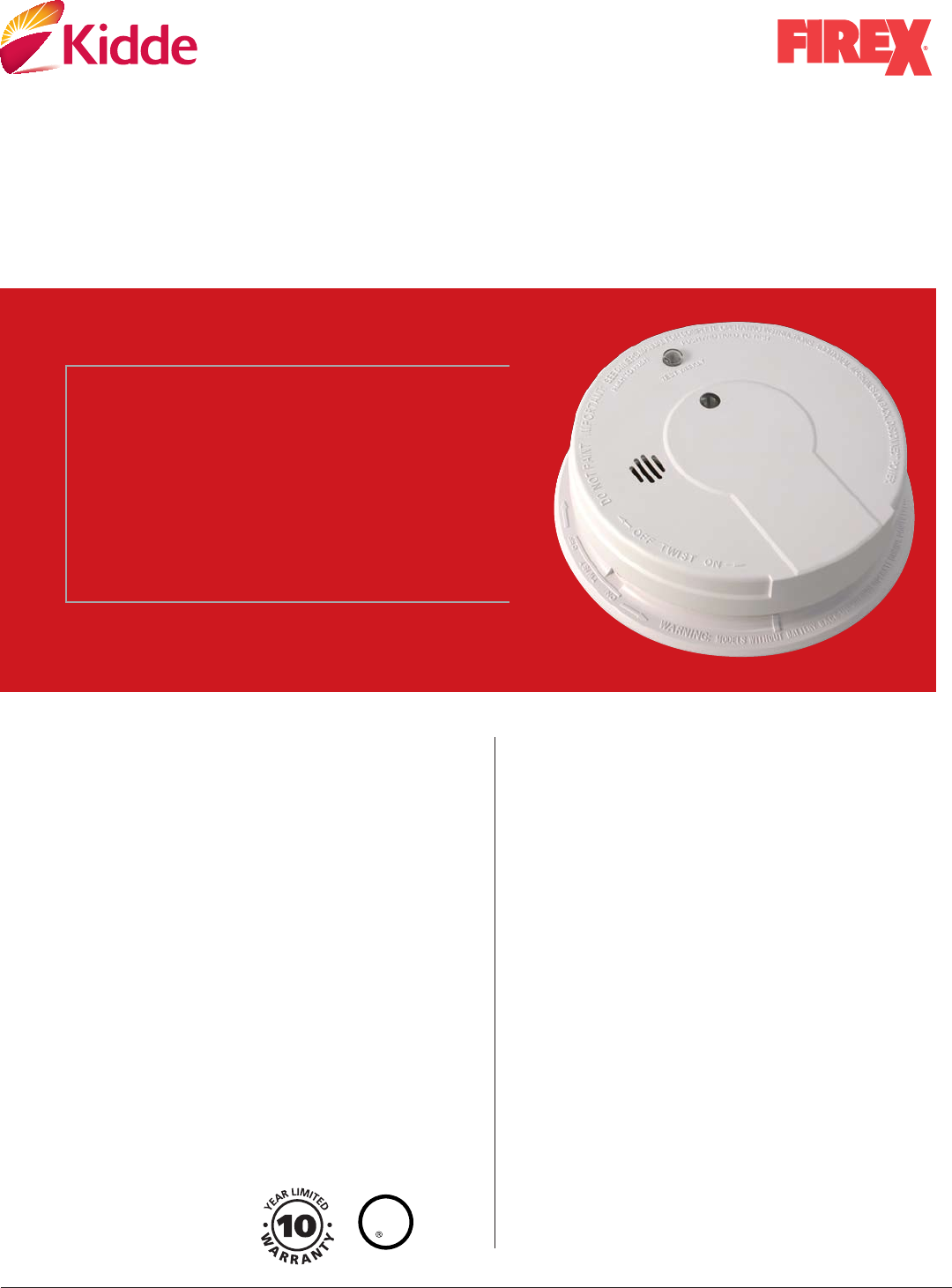 Kidde Smoke Alarm I12020 User Guide Manualsonlinecom Firex Wiring Diagram On 120v Ac Wire In