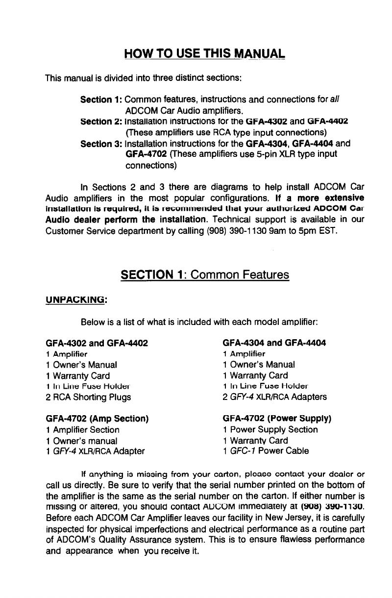 page 4 of adcom car amplifier gfa 4302 user guide manualsonline com rh caraudio manualsonline com Nelson Pass Adcom Car Amplifier Adcom GFA Car Power Amplifier