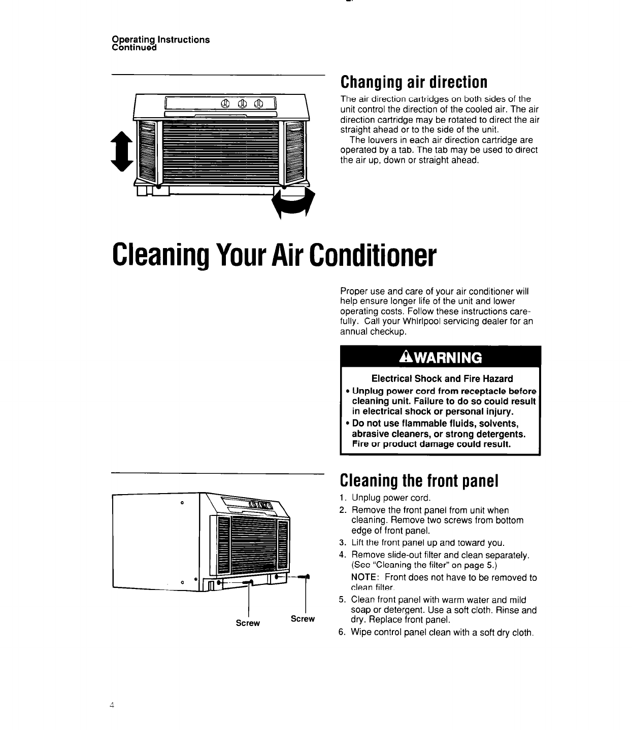 page 4 of whirlpool air conditioner acu124 user guide rh homeappliance manualsonline com Whirlpool Ice Machine Cleaner Whirlpool Disinfectant Cleaner