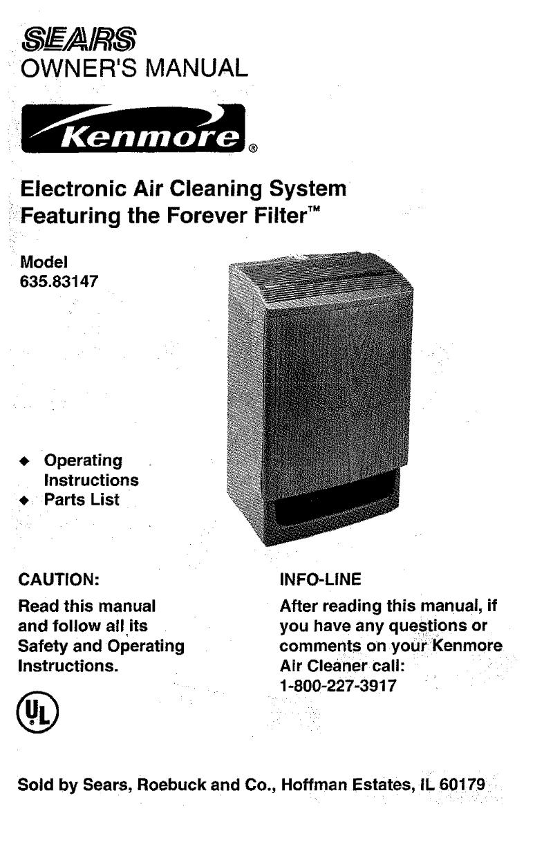 kenmore air cleaner 583 user guide manualsonline com rh homeappliance manualsonline com Kenmore 85250 HEPA Air Purifier Kenmore HEPA Air Filter Replacement