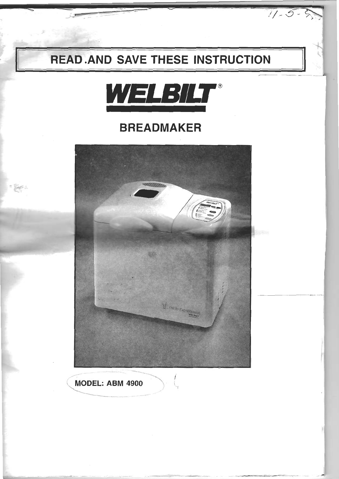 INSTRUCTION MANUAL BREADMAN BREAD MAKER