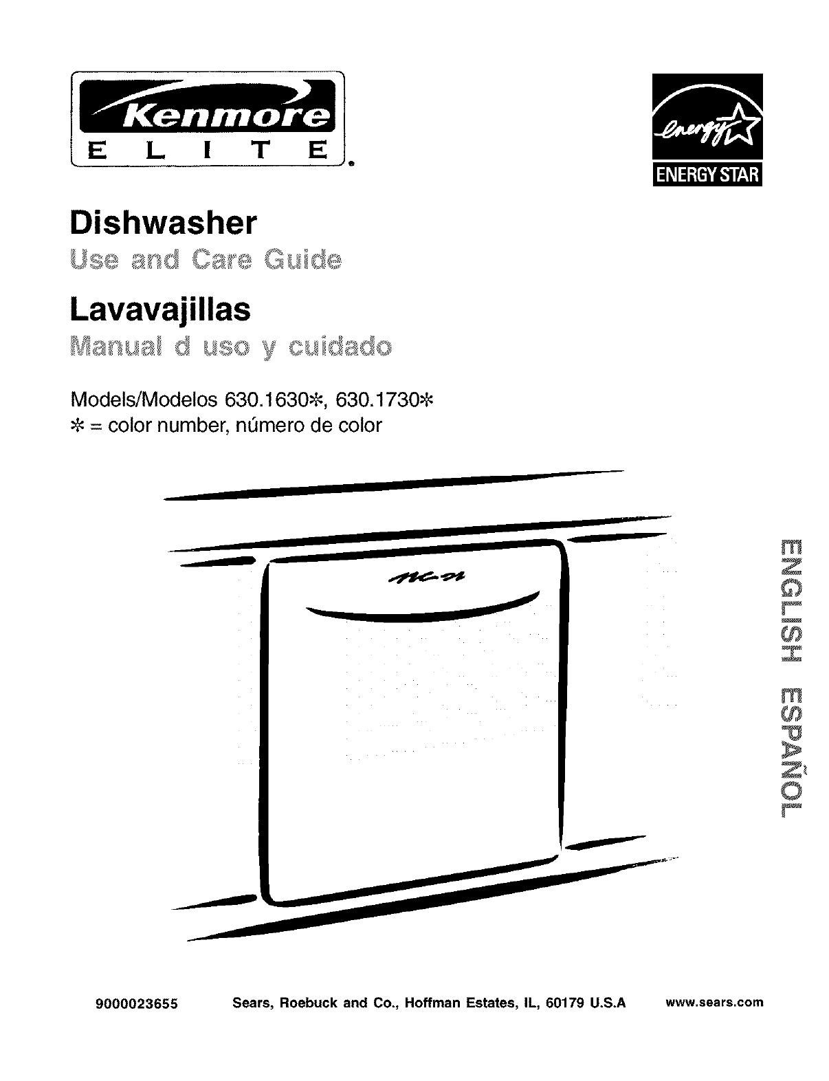 kenmore dishwasher model 630 manual