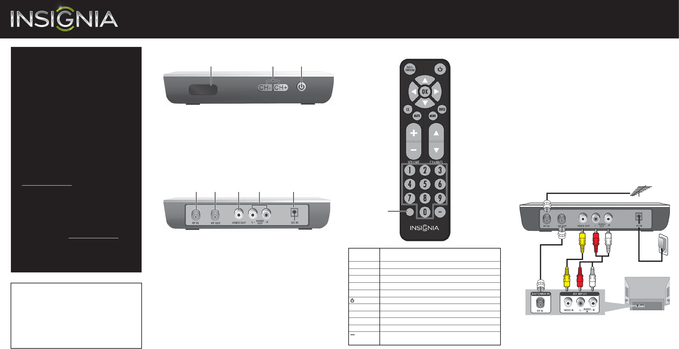 insignia tv converter box ns dxa2 user guide manualsonline com rh tv manualsonline com Insignia Radio insignia pilot mp3 player manual