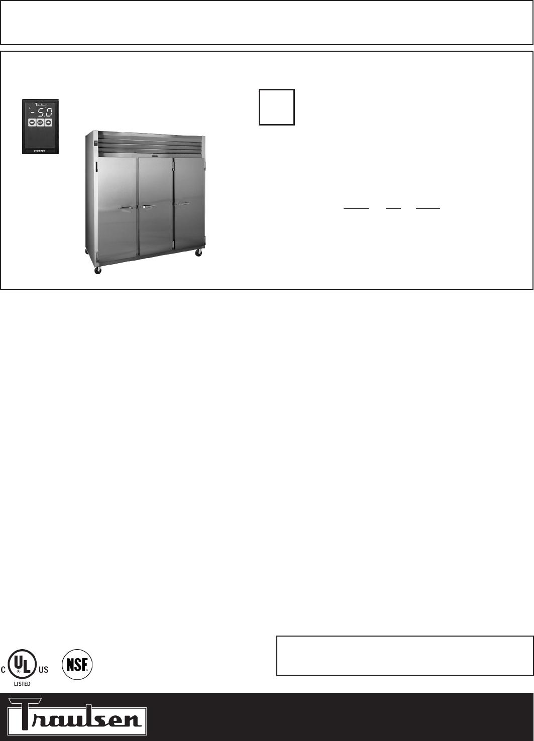 Traulsen G31010 Freezer User Manual
