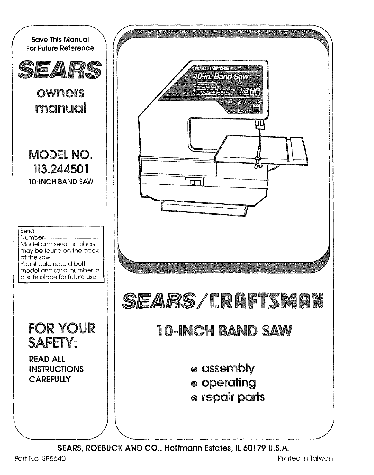 sears saw 113 244501 user guide manualsonline com rh powertool manualsonline com Craftsman Lawn Tractor Manual Craftsman Snow Blower Parts Manuals
