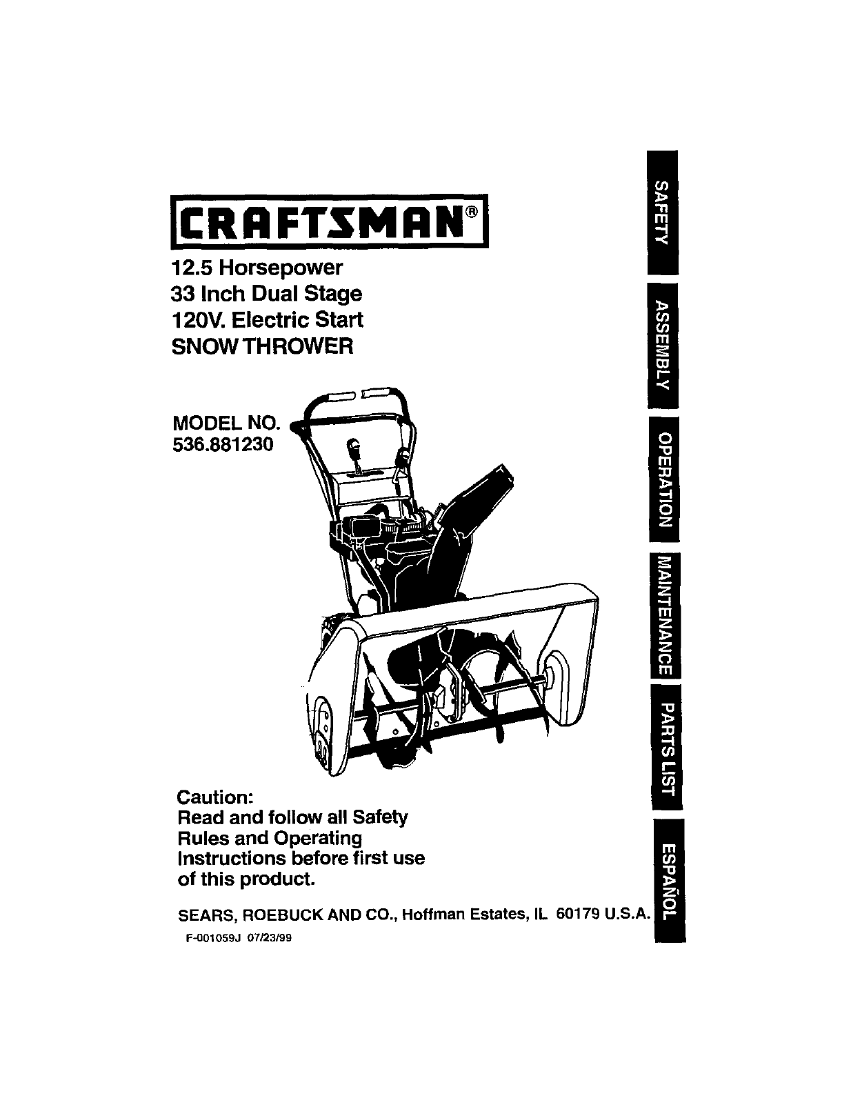 Craftsman Snow Blower 536 88123 User Guide Manualsonline Com