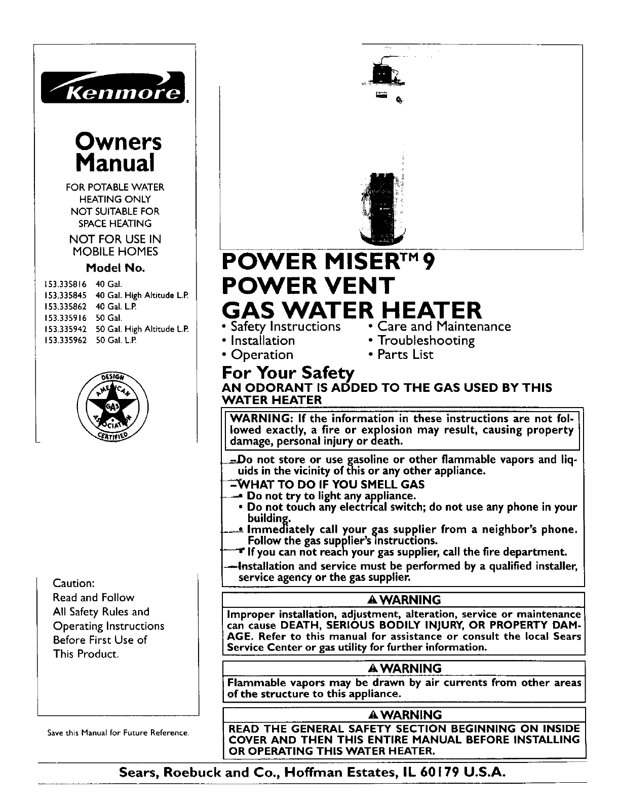 kenmore water heater l53 335816 user guide