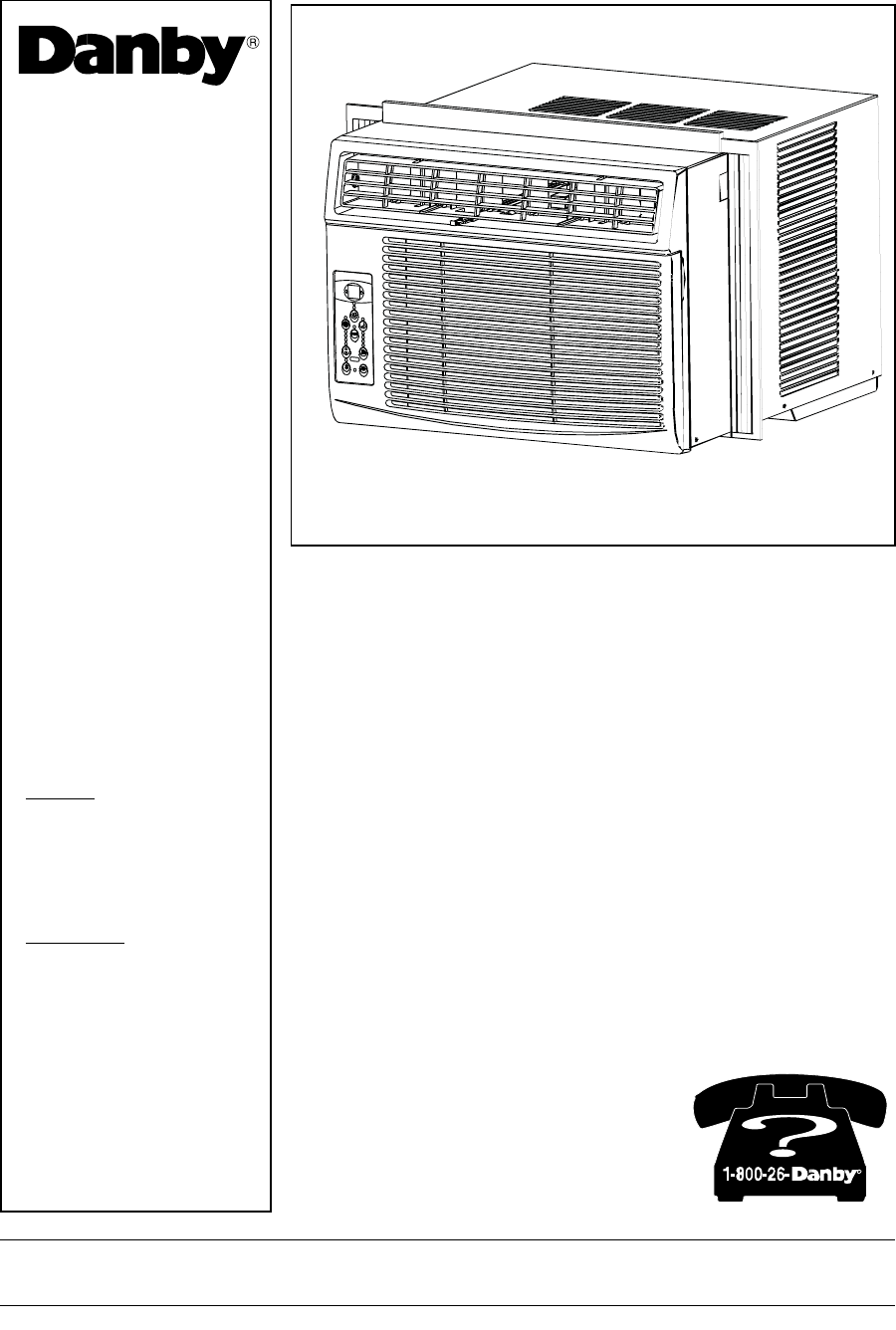 Danby Air Conditioner Dac8007ee User Guide Manual Guide