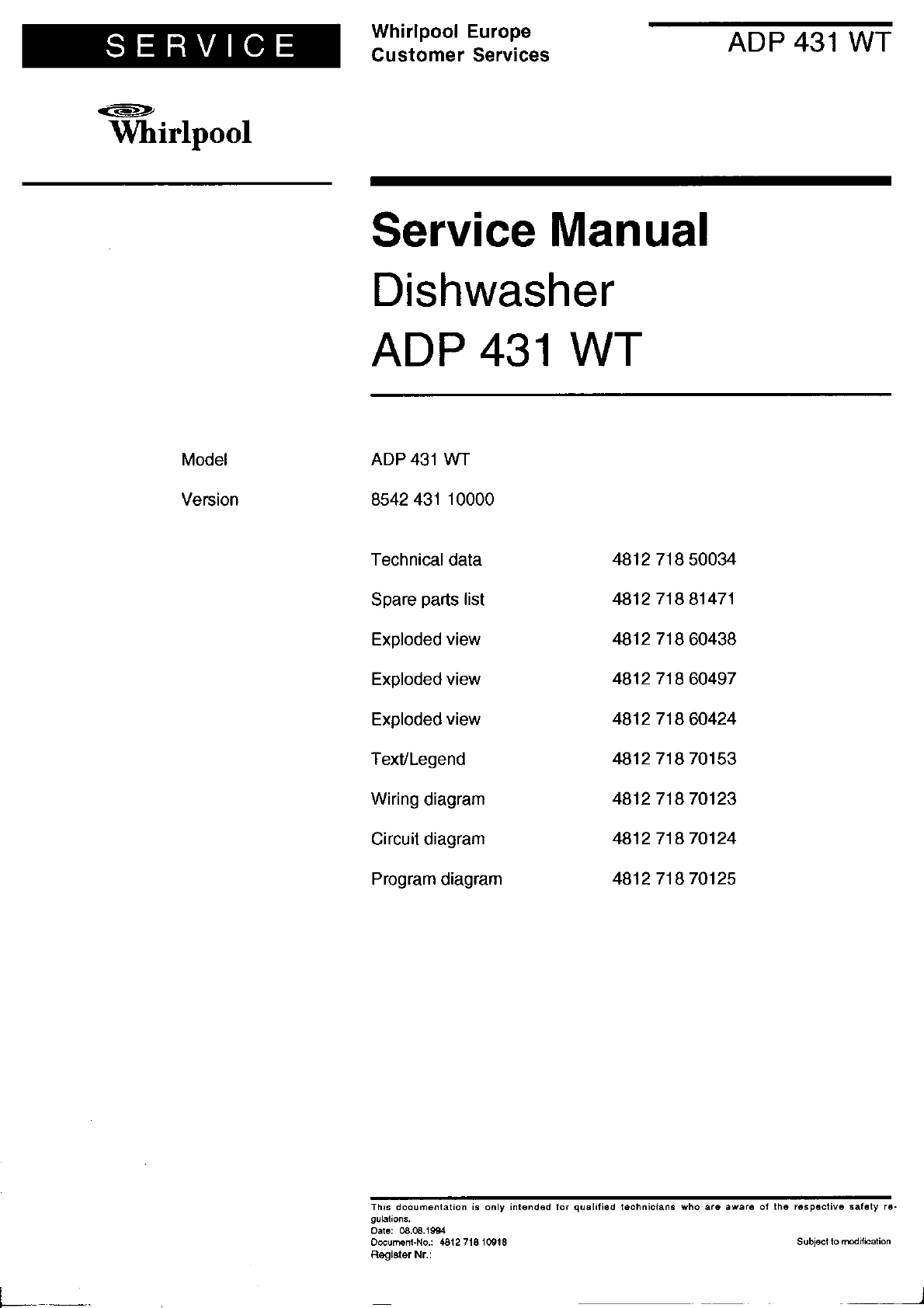 Whirlpool dishwasher 431 user guide - Whirlpool service client ...