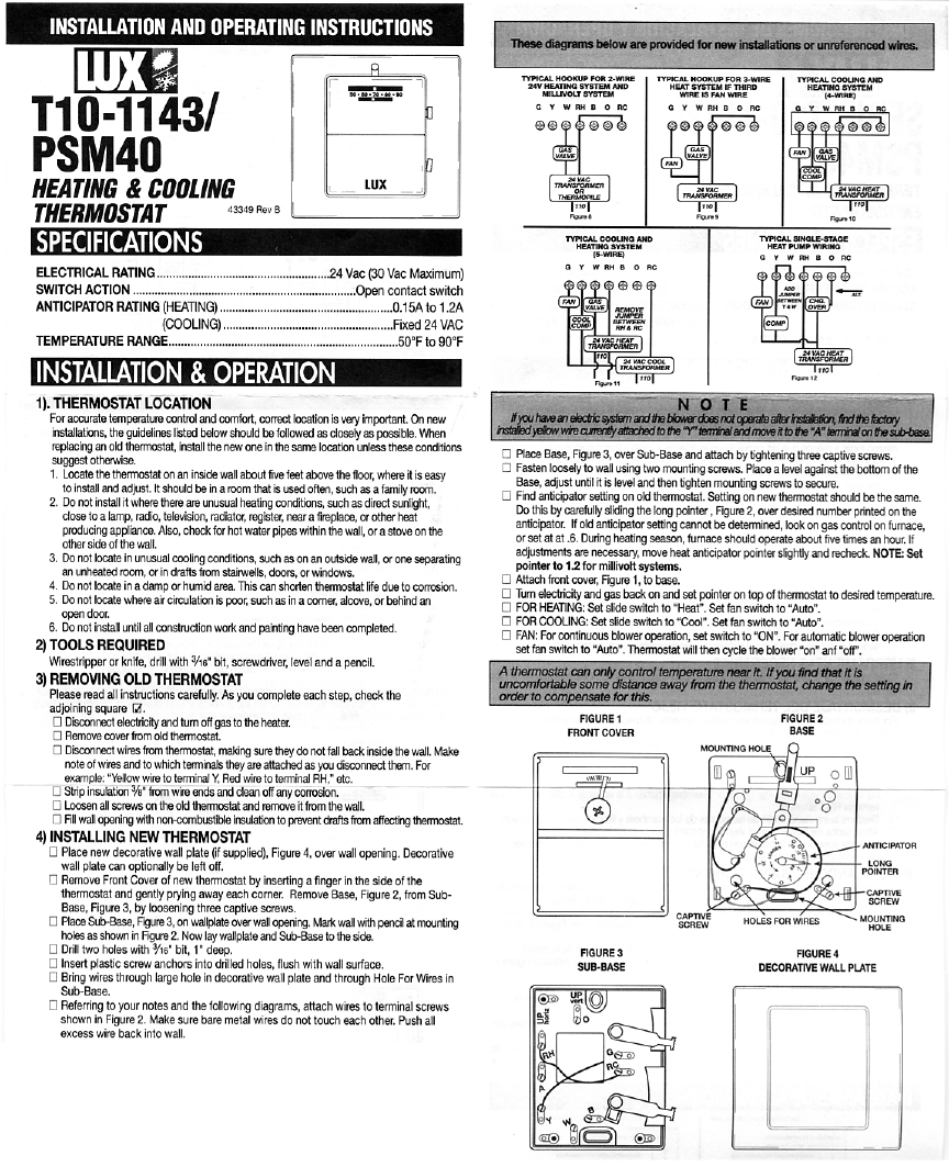 Lux Products Thermostat T10-1143/PSM40 User Guide | ManualsOnline.com