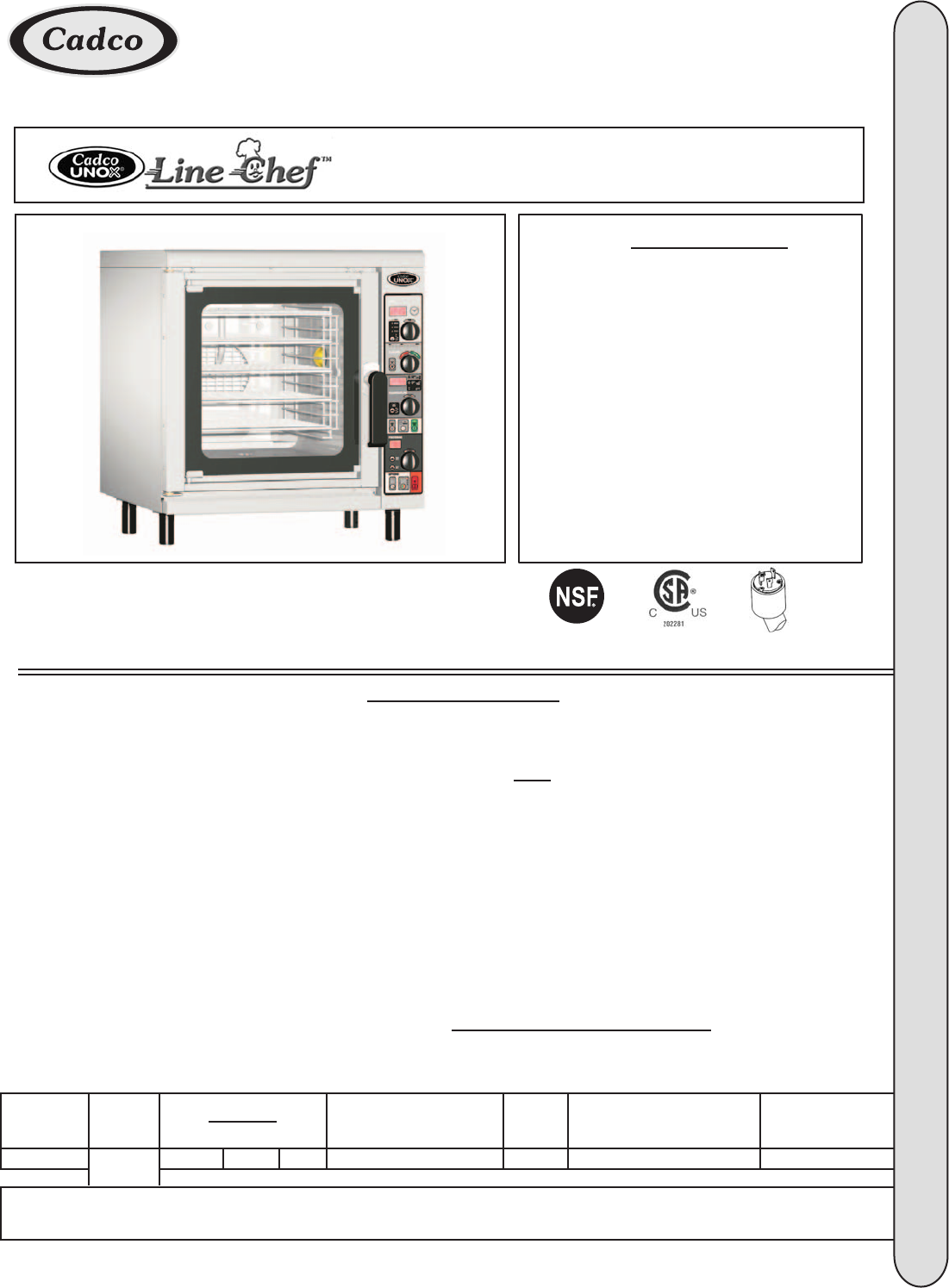 Cadco CAPO-203 Microwave Oven User Manual