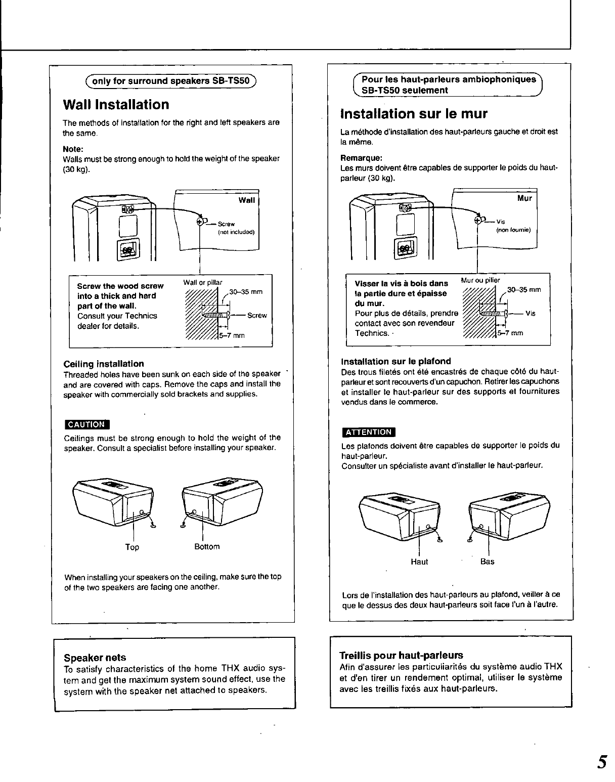 Page 5 of Technics Speaker System SB-TF50 User Guide