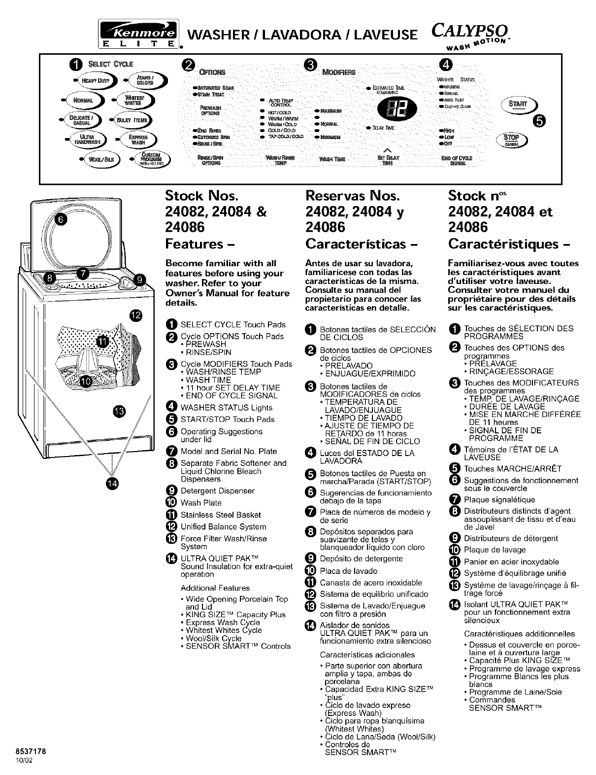Kenmore Washer 24082 User Guide
